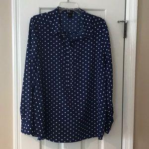 Ann Taylor Navy Blue Dot Pullover Blouse